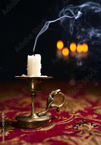 Poster Candle in small brass candlestick