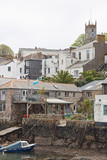 Traditional housing overlooking Falmouth harbour in Cornwall UK