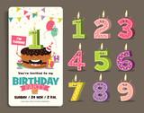 Birthday Anniversary Numbers Candle with Funny Character & Birthday Party Invitation Card Template