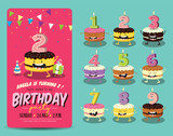 Fototapety Birthday Anniversary Numbers Candle with Funny Character & Birthday Party Invitation Card Template