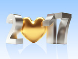 2017 Happy New Year concept. Silver text with golden heart on blue. 3D illustration