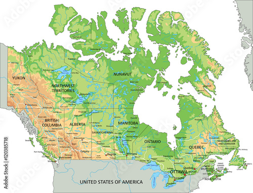 GamesAgeddon - High detailed Canada physical map with ...