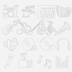 Vector music sound icon set