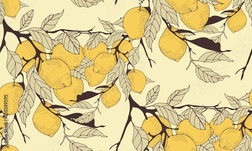 Tapeta lemon tree branch seamless pattern in sepia shades