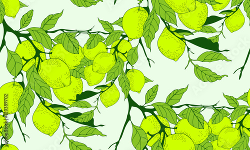 lime tree branch seamless pattern in green shades