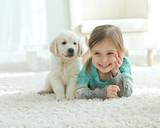 Child and dog  - 120393352
