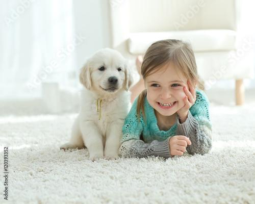 Child and dog  - 120393352