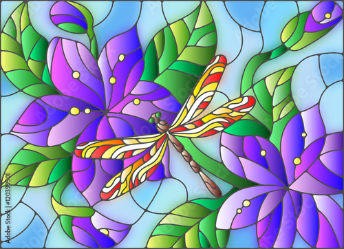 Naklejka Illustration in stained glass style with bright dragonfly against the sky, foliage and flowers