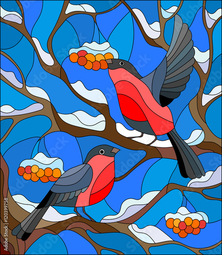 Naklejka Illustration in stained glass style with a pair of bullfinches, on the background of snow-covered mountain ash tree