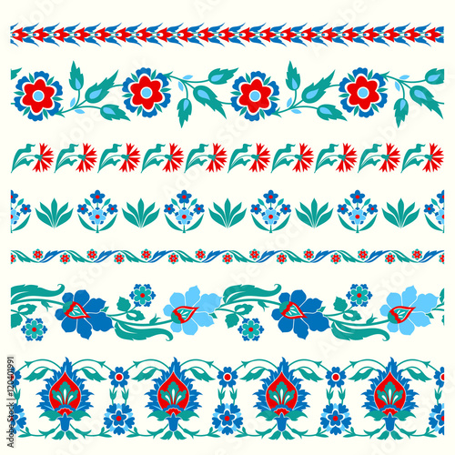 Set of floral borders in folk style
