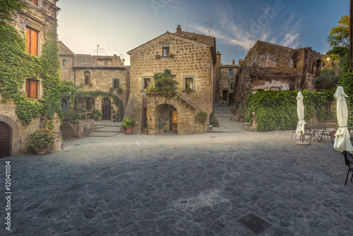 Deserted streets and restaurant in the ancient town of Italy.