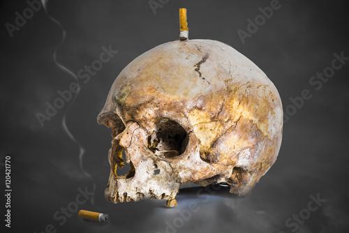 Poster fumer tue/mégots avec tête de mort