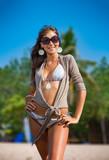 long haired girl in bikini on bali beach