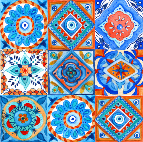 Background pattern of squares. Hand-painted. watercolor illustration. - 120422759