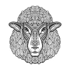 Head sheep. Ethnic patterns. Hand drawn vector illustration with floral elements. Lamb, animal symbol