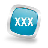 xxx square blue glossy chrome silver metallic web icon
