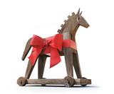 Trojanisches Pferd aus Holz vor Weiß