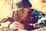 Army Woman Holding Gun