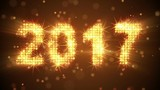 new year 2017 greeting glowing orange particles. last 10 seconds are loopable