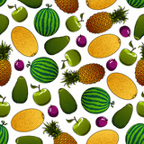 Fresh fruits seamless pattern for food design