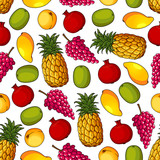 Seamless pattern of healthy fresh fruits