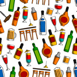 Bar cocktails and alcohol drinks seamless pattern
