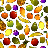 Healthy ripe fruits seamless pattern background