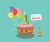 Happy birthday card. Funny cake, number candle and balloon. Vector illustration