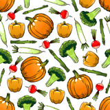 Farm vegetables seamless pattern background