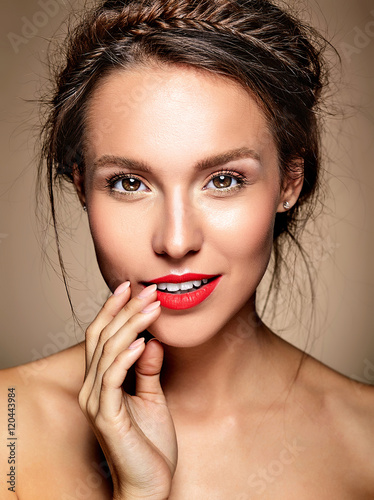 portrait of beautiful woman model with fresh daily makeup and red lips and healt Poster