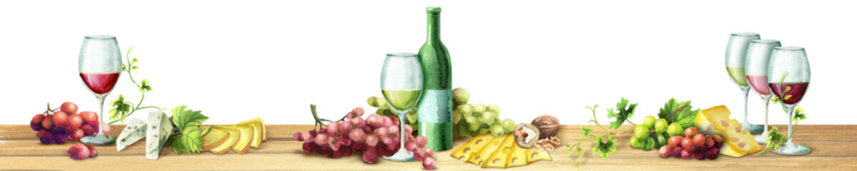 Panoramic image of wine and grapes on a white background. Can be used for kitchen skinali. Watercolor © dariaustiugova