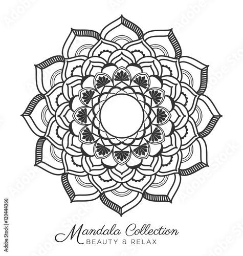 Tibetan mandala decorative ornament design for coloring page, greeting card, invitation, tattoo, yoga and spa symbol. Vector illustration
