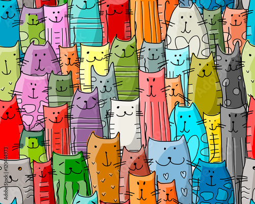 Fototapeta Funny cats family, seamless pattern for your design
