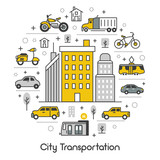 Fototapety City Transportation Line Art Thin Vector Icons Set with Tram Bus and Taxi
