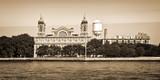 Panorama of Ellis island in New York City, vintage sepia process - 120464112