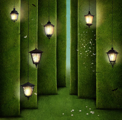 Conceptual illustration of green maze and street lantern