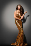 Fashion Model Girl Posing Glamour Gold Dress, Elegant Woman Gold
