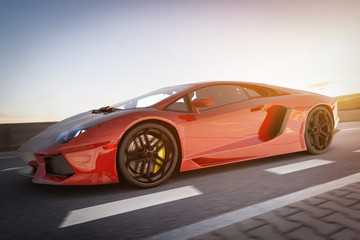 Czerwony szybki samochód