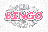 Bingo - Doodle Magenta Inscription. Business Concept.