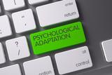 Keyboard with Green Keypad - Psychological Adaptation. 3D Illustration.