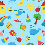 Kids colorful drawings seamless pattern. Vector colorful background.