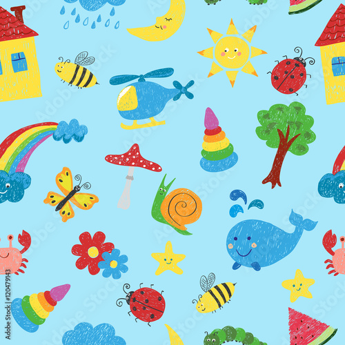 fototapeta na ścianę Kids colorful drawings seamless pattern. Vector colorful background.