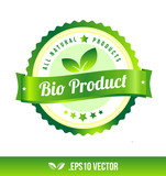 Bio product badge label seal stamp logo text design green leaf template vector eps