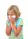 young girl sneezing with tissue isolated white backgroundNose Blowing