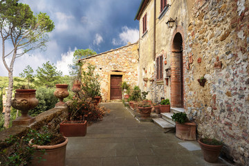 Alleys, streets and crannies in the beautiful town in Tuscany, P
