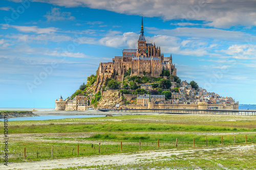 Poster Famous historc Mont Saint Michel tidal island in Normandy,France