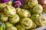 Carved Kohlrabi stems at the local market