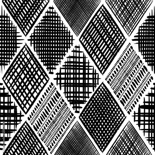 Abstract grunge rhombus color vector seamless pattern. Tribal texture - 120506161