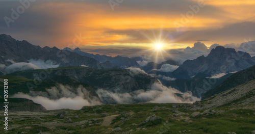 Panorama of beautiful sunset in Dolomities