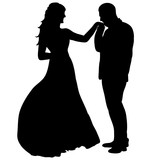 vector wedding silhouette of bride and groom, wedding, isolated